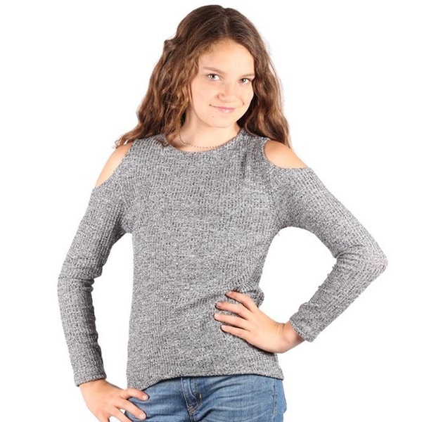 998dfb7465122b Shop Lori&Jane Girls Gray Melange Cold Shoulder Knit Long Sleeve Trendy Top  - 6/7 - Free Shipping On Orders Over $45 - Overstock - 22134098