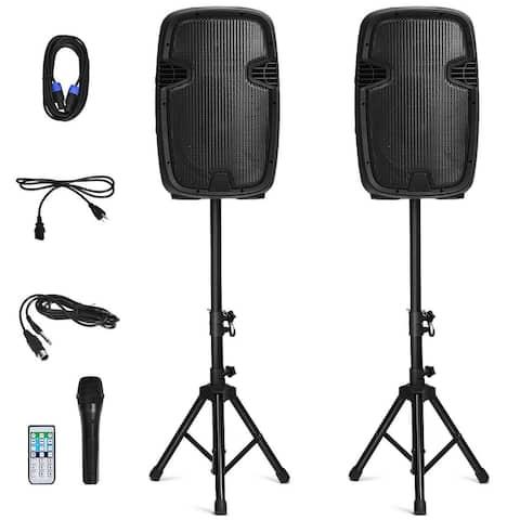 Costway Dual 12'' 2-way 1600W Powered Speakers w/ Bluetooth + Mic +