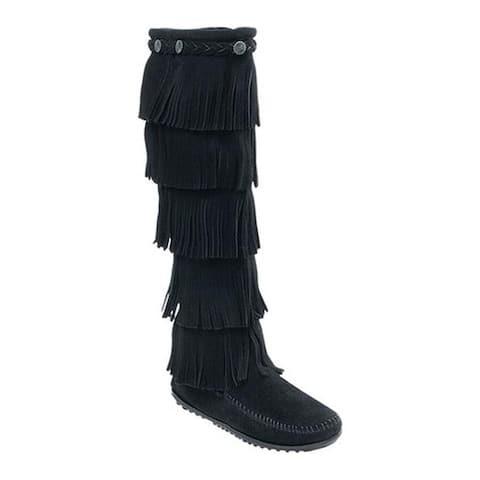 Minnetonka Women's 5 Layer Fringe Boot Black Suede