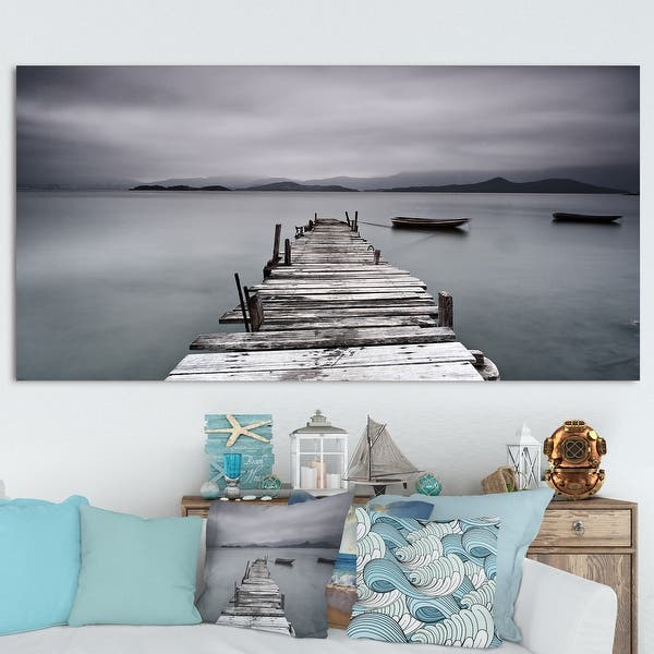 Designart Pier And Boats At Seashore Bridge And Pier Canvas Wall Art On Sale Overstock 14557737