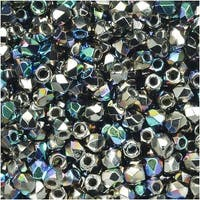 True2 Czech Fire Polished Glass, Faceted Round 2mm, 50 Pieces, Crystal Nickel Plated AB