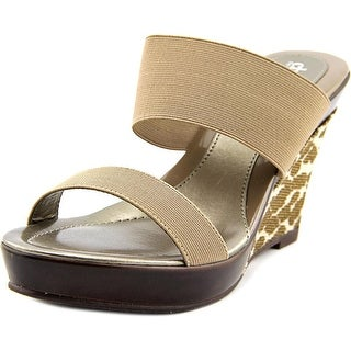 Charles By Charles David Trace Women Open Toe Canvas Brown Wedge Sandal