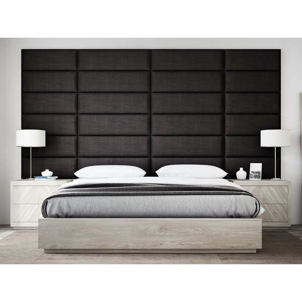 "VANT Upholstered Headboards - Accent Wall Panels - Packs Of 4 - Textured Cotton Weave Black Denim - 39"" Wide x 11.5"" Height."