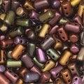 Czech Glass Matubo, Cylindrical 2-Hole Rulla Beads 3x5mm, 22 Gram Tube, Crystal Violet Rainbow - Thumbnail 0