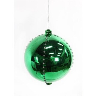 Alpine Corporation 7 in. green Xmas Ball Ornament With 76 Chasing