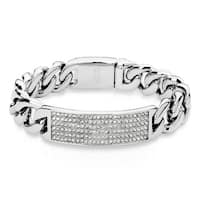 "Crystal Pave Large Curb Chain Stainless Steel ID Bracelet - 8.5"" (Sold Ind.)"