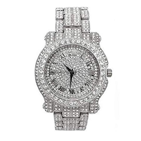 Bling-ed Out Silver Round Luxury Mens Watch w/Bling-ed Out Bracelet - L0504