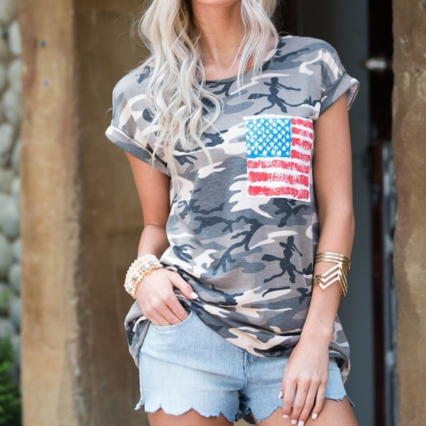e1864c72 Shop 4th of July Clothing for Women Camo Patriotic Tops American Flag  Pocket T Shirt - Free Shipping On Orders Over $45 - Overstock - 23002088