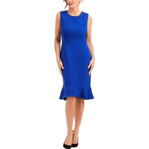 Kasper Womens Petites Wear to Work Dress Drop Waist Scalloped Bottom