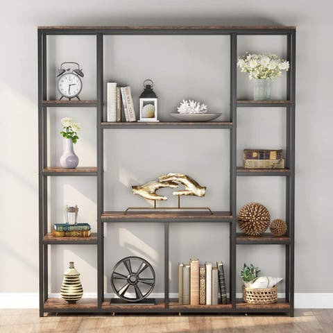 12-Open Shelf Etagere Bookcase, Rustic Vintage Book Shelves Display Shelf Storage Organizer