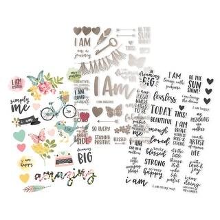 """I Am Clear Stickers 4""""X6"""" 3/Pkg-(1) Color, (1) Foil, (1) Black"""
