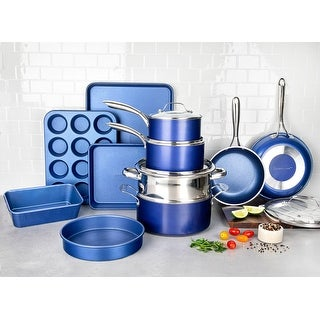 Link to Granitestone Blue Nonstick 20 Piece Cookware and Bakeware Set Similar Items in Cookware