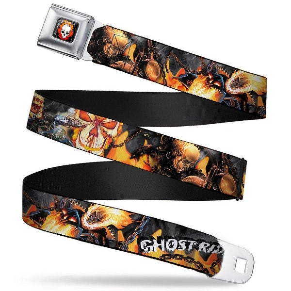 Marvel Universe Ghost Rider Flaming Skull Full Color Black Gray Red Orange Seatbelt Belt