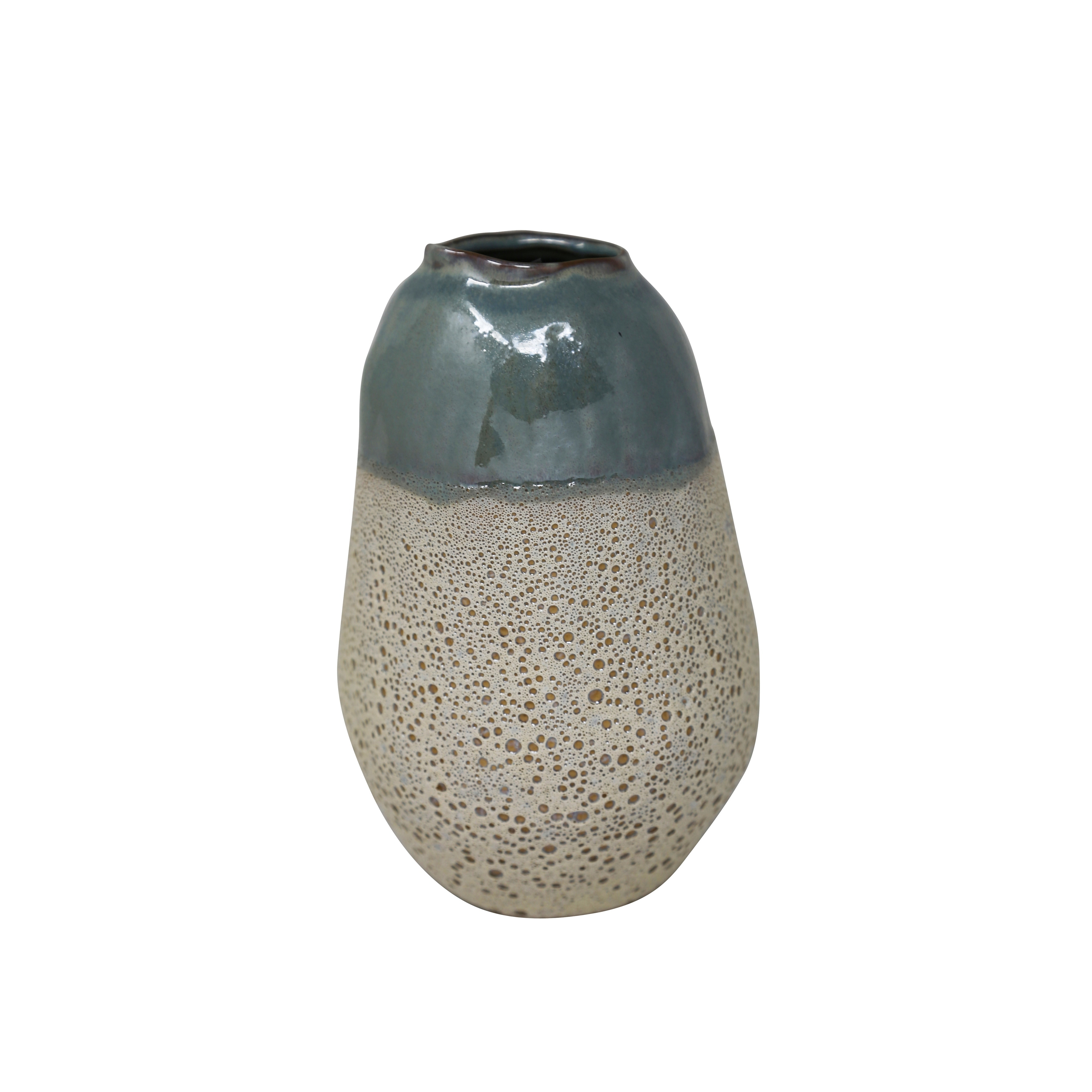 Ceramic Two Toned Vase with Irregular Mouth Rim and Tapered Bottom, Medium, Blue and Beige