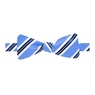 Countess Mara Hand Made Preppy Stripe Adjustable Bow Tie Light Blue - One Size Fits most