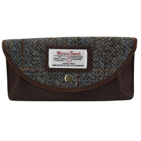 The British Bag Company Carloway Peak Harris Tweed and Leather Glasses Case - one size