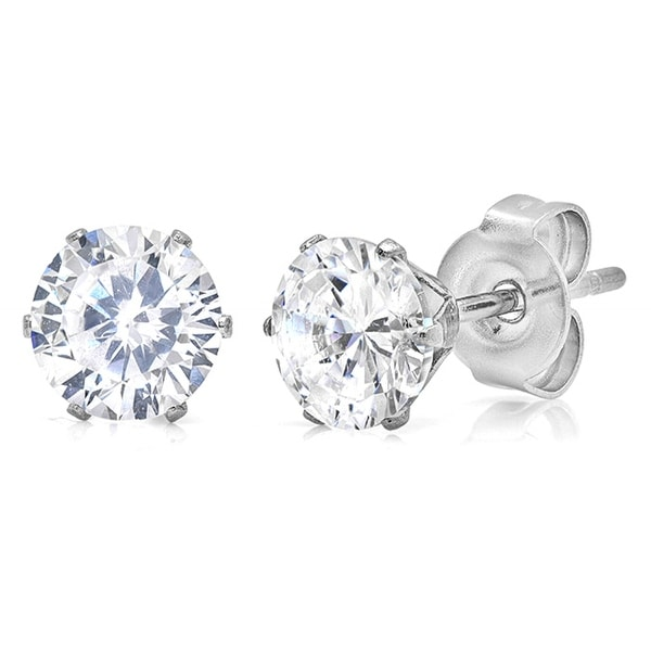 Amanda Rose 6mm 2 3/4ct TW Round Cubic Zirconia Stud Earrings set in Stainless Steel
