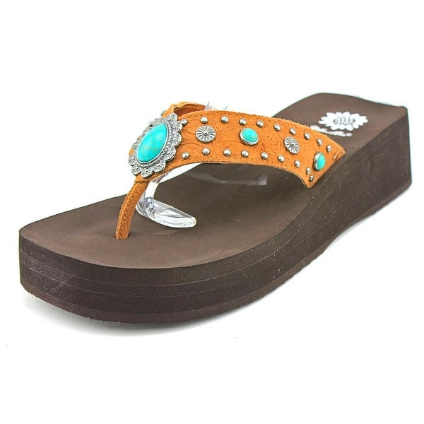 Yellow Box Orean Women Open Toe Synthetic Brown Wedge Sandal