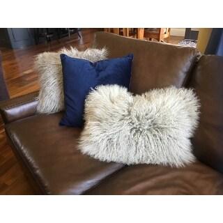 Mongolian Lamb Fur Lumbar Throw Pillow