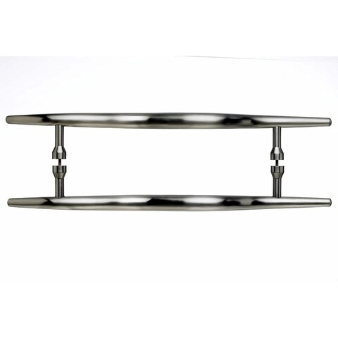 Top Knobs M853-18pair Nouveau Collection 18 Inch Center to Center Brushed Satin Nickel Brook Back to Back Door Pull Pair