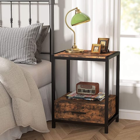 Vintage Nightstands with Drawers and Storage Shelf, Industrial End Table