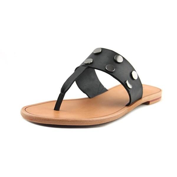Hammitt Max Women Open Toe Leather Black Thong Sandal