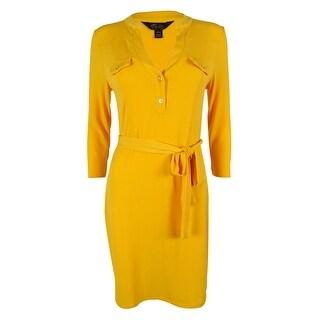 Thalia Sodi Women's Split Neck Dress - majestic yellow