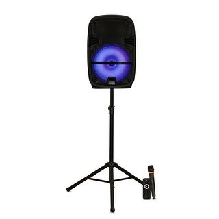 "Acoustic Audio PRTY122 Battery Powered 12"" Bluetooth LED Speaker w/ Mic & Stand"
