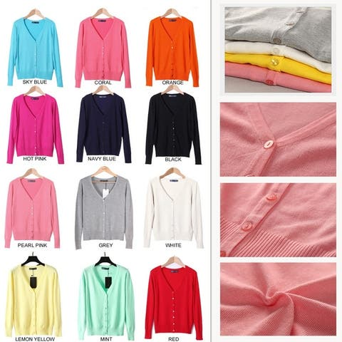 Happy New Year Cardigans Long Sleeves Button Down Style