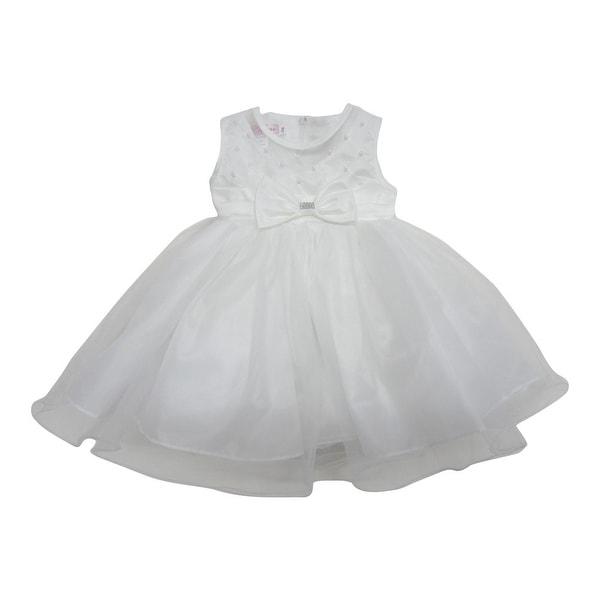 Baby Girls Off-White Beaded Bow Accent Ruffle Overlaid Flower Girl Dress