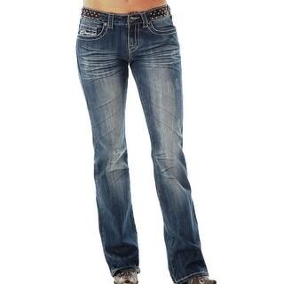 Cowgirl Tuff Western Denim Jean Women Vintage Black Leather Med JVIBLE