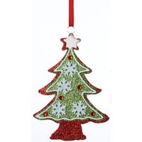 "6"" Christmas Traditions Glitter Drenched Snowflake Tree Holiday Ornament - RED"