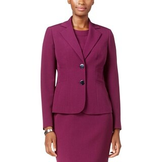Kasper Womens Two-Button Blazer Crepe Solid