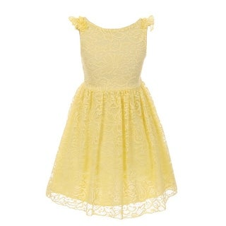 Girls Yellow Floral Pattern Lace Easter Junior Bridesmaid Dress