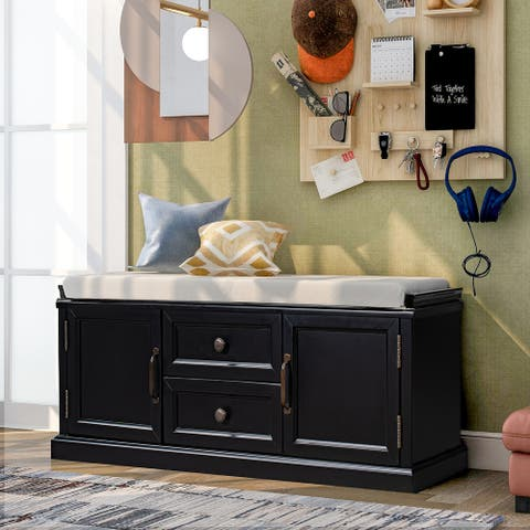 Entryway Storage Bench with 2 Drawer&2 Cabinet&Removable Cushion,Black