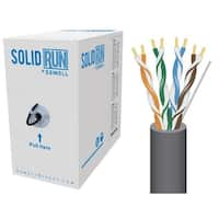 SolidRun by Sewell, Cat5e Bulk Cable, 250 ft., UTP, CMR, Dark Grey, Pull Box