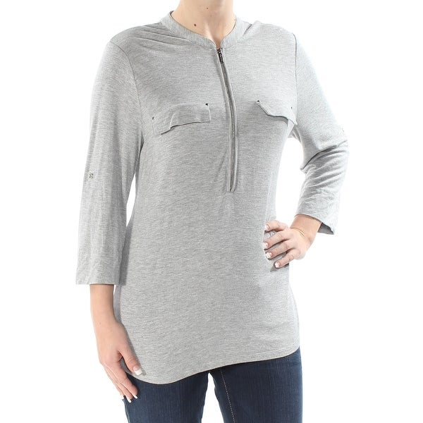3d39cffef29 Shop CALVIN KLEIN Womens Gray Zip Front 3 4 Sleeve Crew Neck Top Size  S -  Free Shipping On Orders Over  45 - Overstock - 27774320