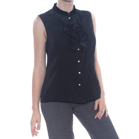 TAHARI Womens Black Ruffled Sleeveless Top Size: M