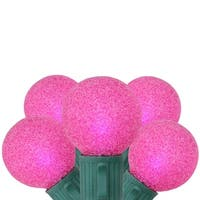 Set of 10 Battery Operated Sugared Pink LED G30 Christmas Lights - Green Wire