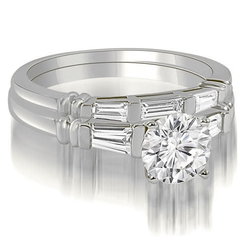 1.25 cttw. 14K White Gold Round And Baguette Cut Three Stone Diamond Bridal Sett,HI,SI1-2