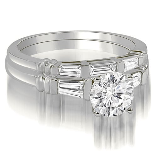 1.50 cttw. 14K White Gold Round And Baguette Cut Three Stone Diamond Bridal Sett,HI,SI1-2