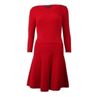 Lauren Ralph Lauren Women's Ribbed  A-Line Sweater Dress - TRUE RED