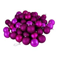 "24ct Magenta Pink Shatterproof 4-Finish Christmas Ball Ornaments 2.5"" (60mm)"