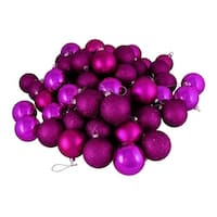 "32ct Shatterproof Light Magenta Pink 4-Finish Christmas Ball Ornaments 3.25"" (80mm)"