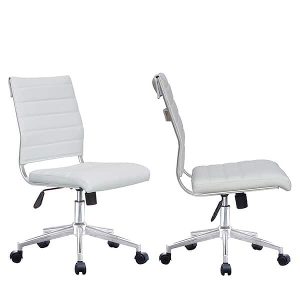 Shop 2xhome Set Of 2 Modern Ergonomic Executive Mid Back Pu Leather Office Chairs No Arms Rest Tilt Adjustable Height With Wheels On Sale Overstock 22808905