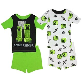 Minecraft Character Print Four-Piece Big Boys Short Pajama Set