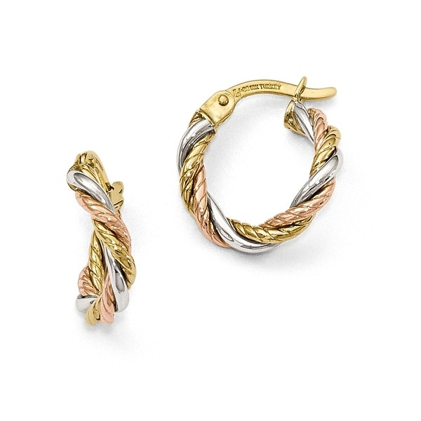 10k Tri-Color Gold Earrings