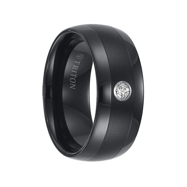 Olin Domed Black Tungsten Wedding Band Satin Finished Center With White Diamond Setting By Triton Rings