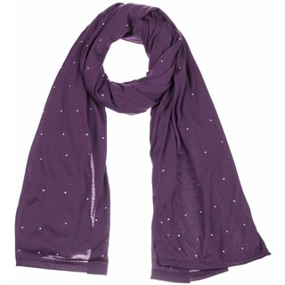 Women's Jersey Rhinestone hijab scarves fashion long plain scarf wrap shawls (Option: Purple)
