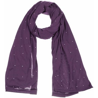 Women's Jersey Rhinestones scarves fashion long plain scarf wrap shawls hijab (Option: Purple)